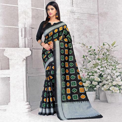 Sensational Black Colored Casual Wear Printed Bhagalpuri Silk Saree