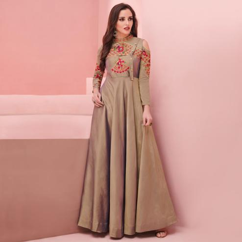 Ethnic Light Brown Colored Party Wear Embroidered Silk Gown
