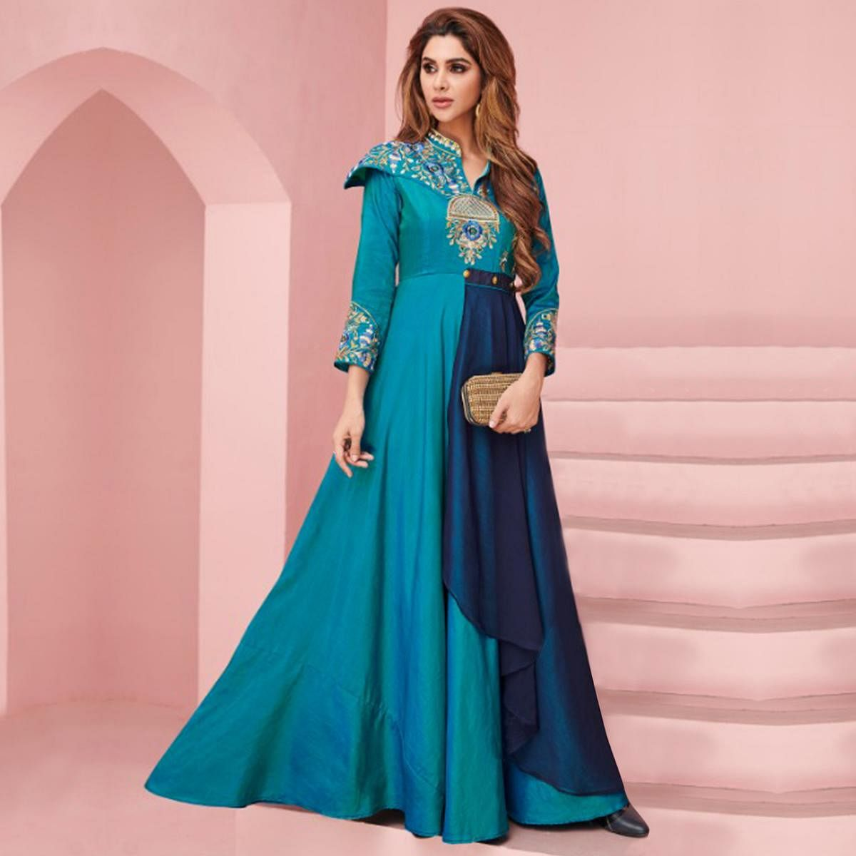 Starring Blue Colored Party Wear Embroidered Silk Gown