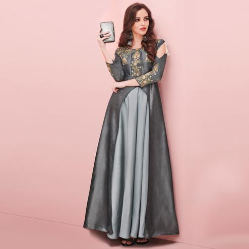 Flirty Grey Colored Party Wear Embroidered Tapeta - Satin Gown