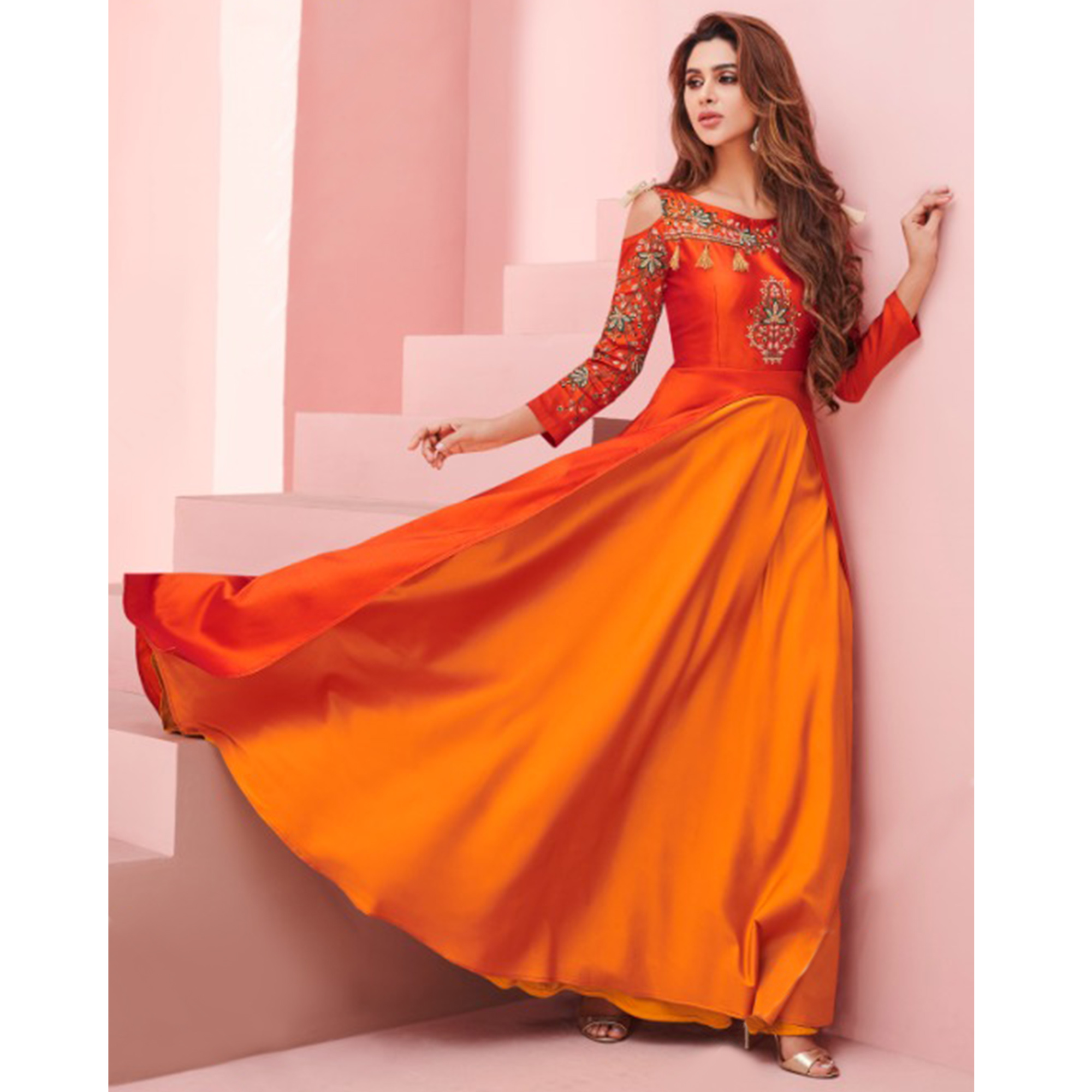 Glowing Orange Colored Party Wear Embroidered Tapeta - Satin Gown