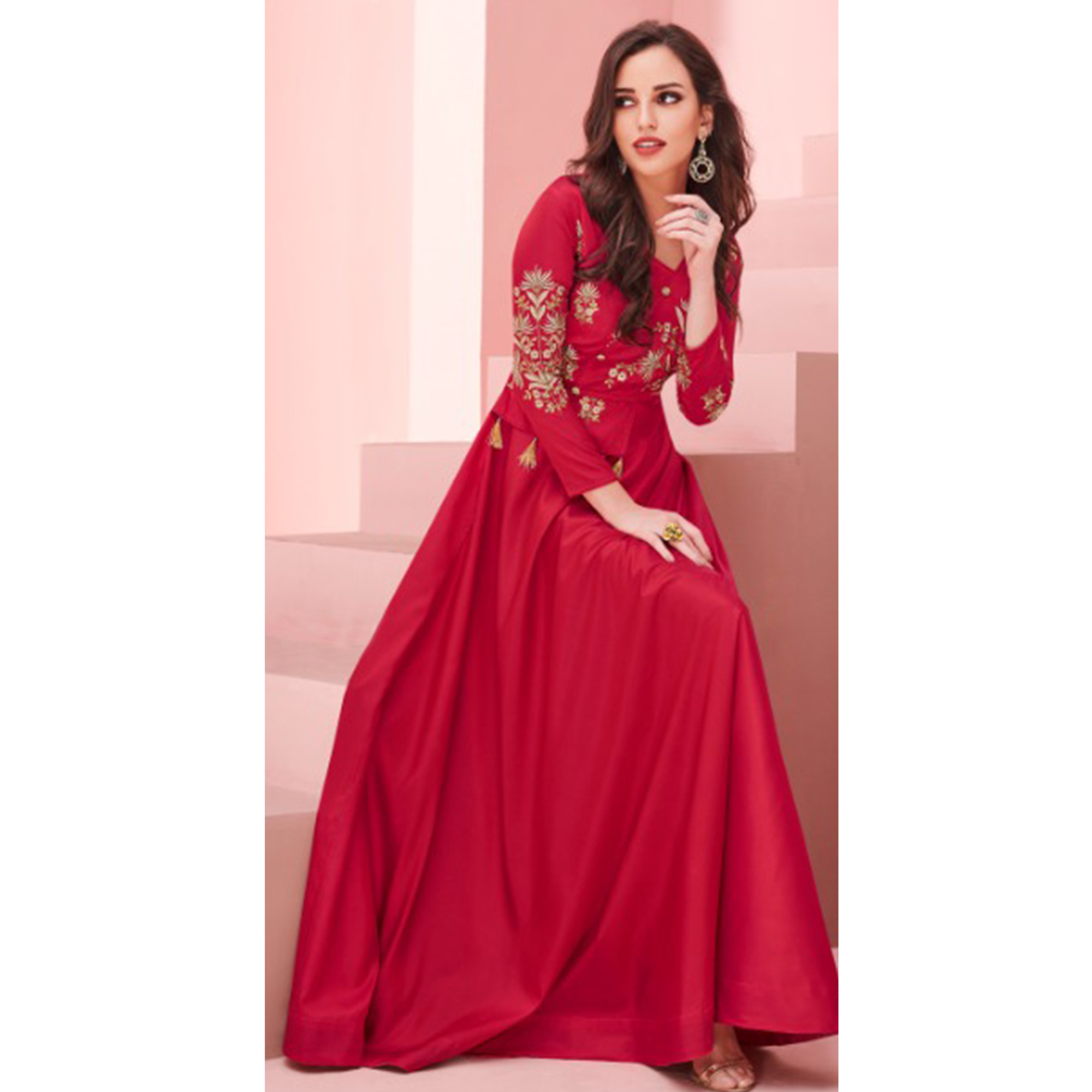Hypnotic Red Colored Party Wear Embroidered Silk Gown