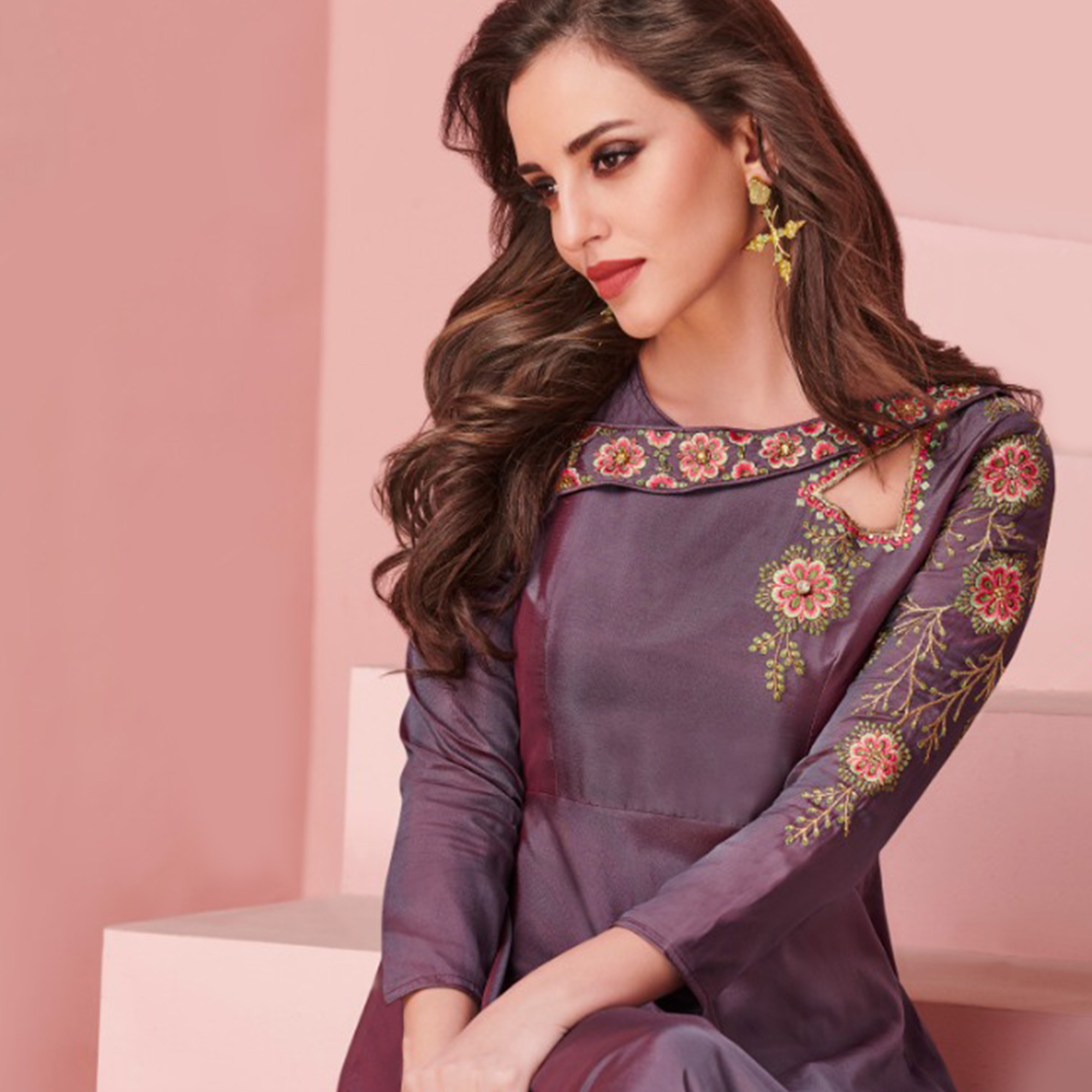 Trendy Purple Colored Party Wear Embroidered Silk Gown