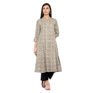 Graceful Beige Printed Rayon Kurti