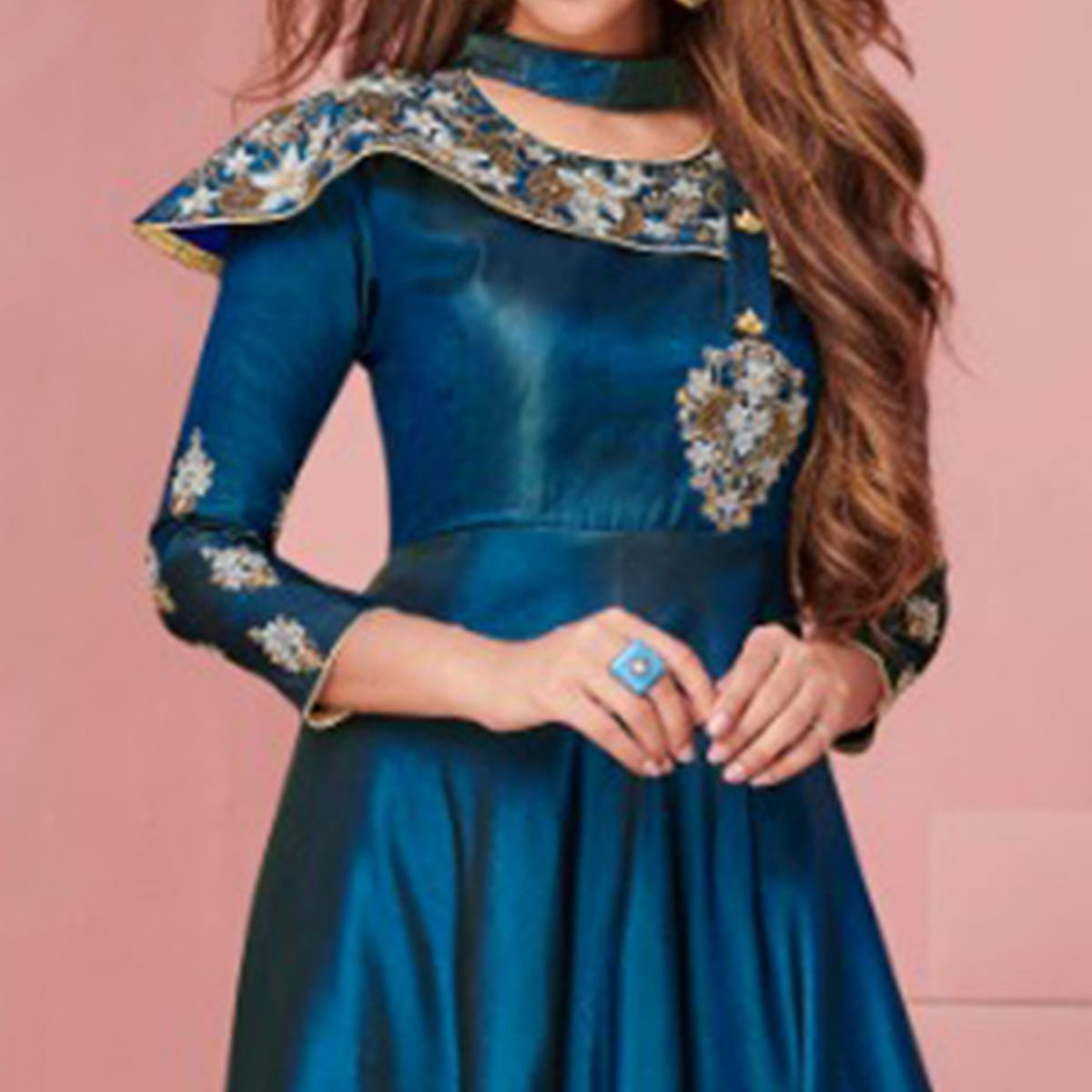 Energetic Teal Blue Colored Party Wear Embroidered Tapeta - Satin Gown