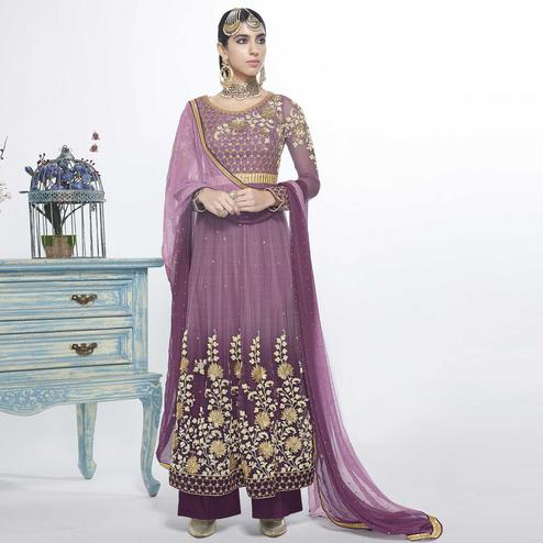 Sophisticated Purple Colored Party Wear Embroidered Net Salwar Suit
