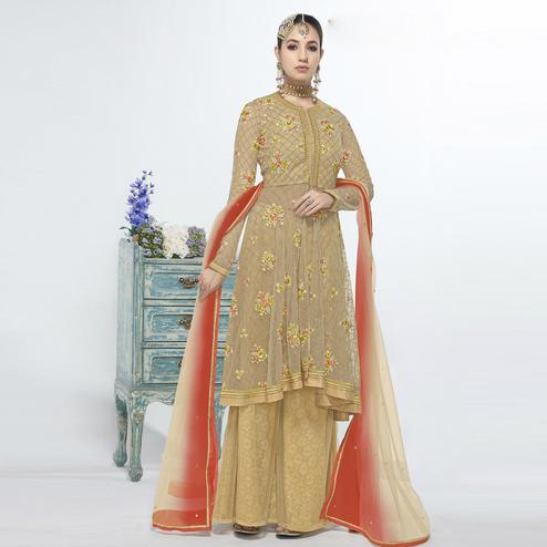 Refreshing Beige Colored Party Wear Embroidered Net Salwar Suit