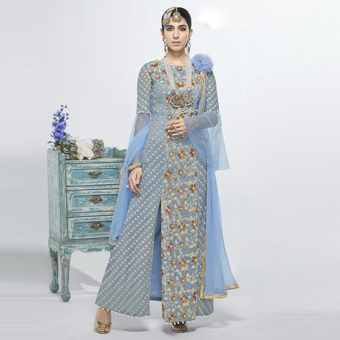 Elegant Blue Colored Party Wear Embroidered Net Salwar Suit
