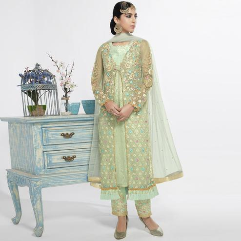Alluring Light green Colored Party Wear Embroidered Net Salwar Suit