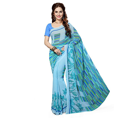 Sky Blue Printed Georgette Saree