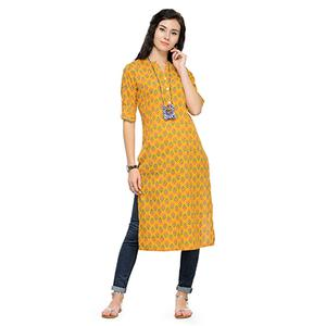 Trendy Yellow Printed Cotton Kurti