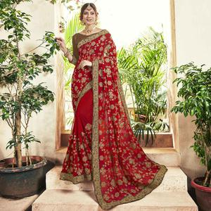 Attractive Red Colored Party Wear Embroidered Georgette Saree
