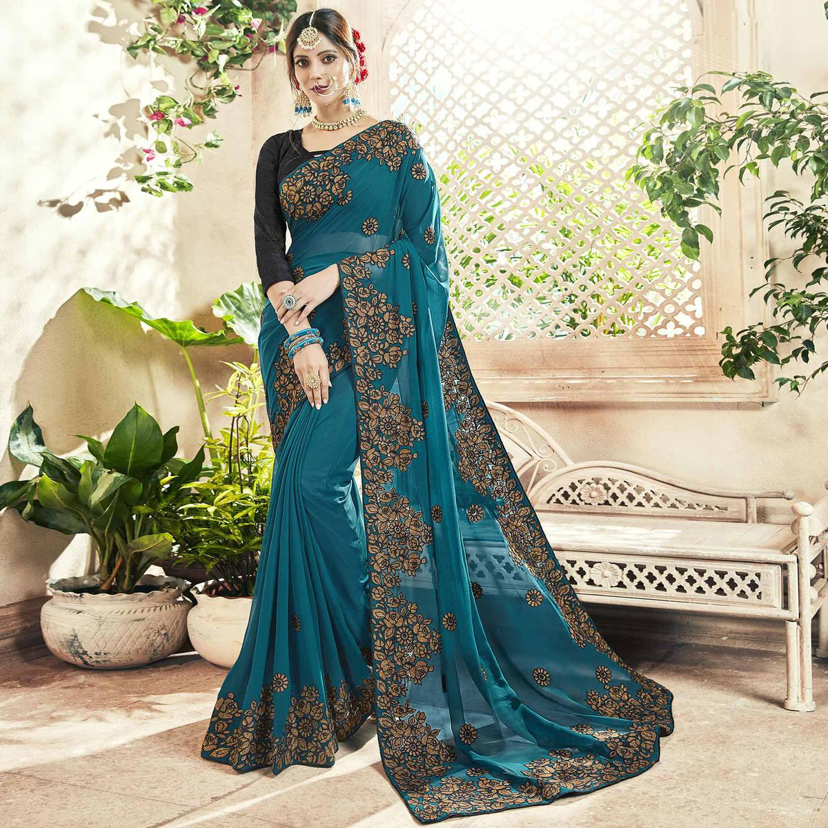 da2b3df360742 Buy Beautiful Teal Blue Colored Party Wear Embroidered Georgette Saree for  womens online India