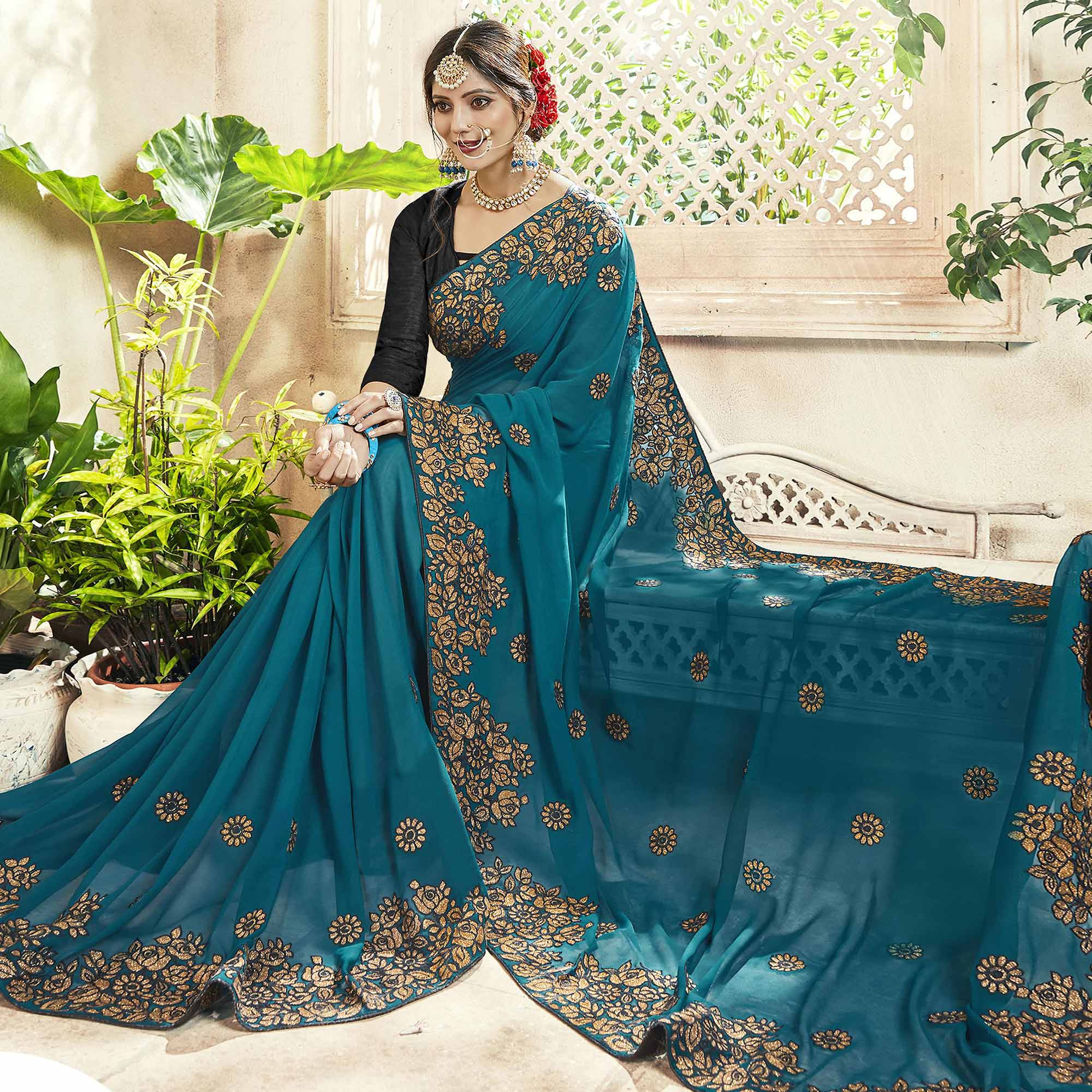 Beautiful Teal Blue Colored Party Wear Embroidered Georgette Saree