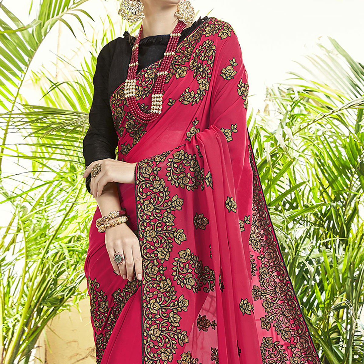 Gorgeous Pink Colored Party Wear Embroidered Georgette Saree