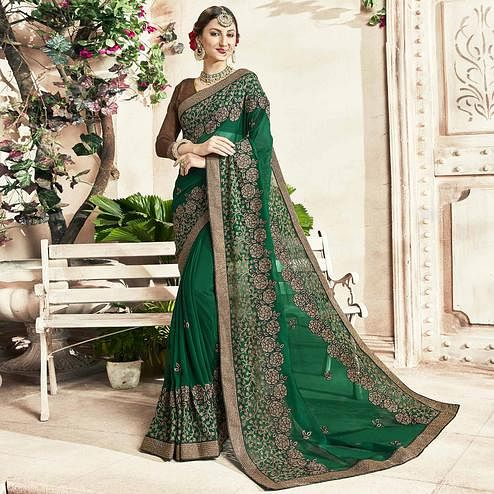 Glorious Green Colored Party Wear Embroidered Georgette Saree