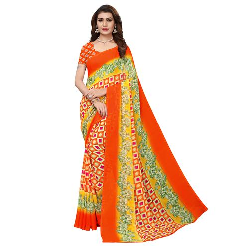 Sophisticated Orange - Yellow Colored Casual Wear Printed Georgette Saree