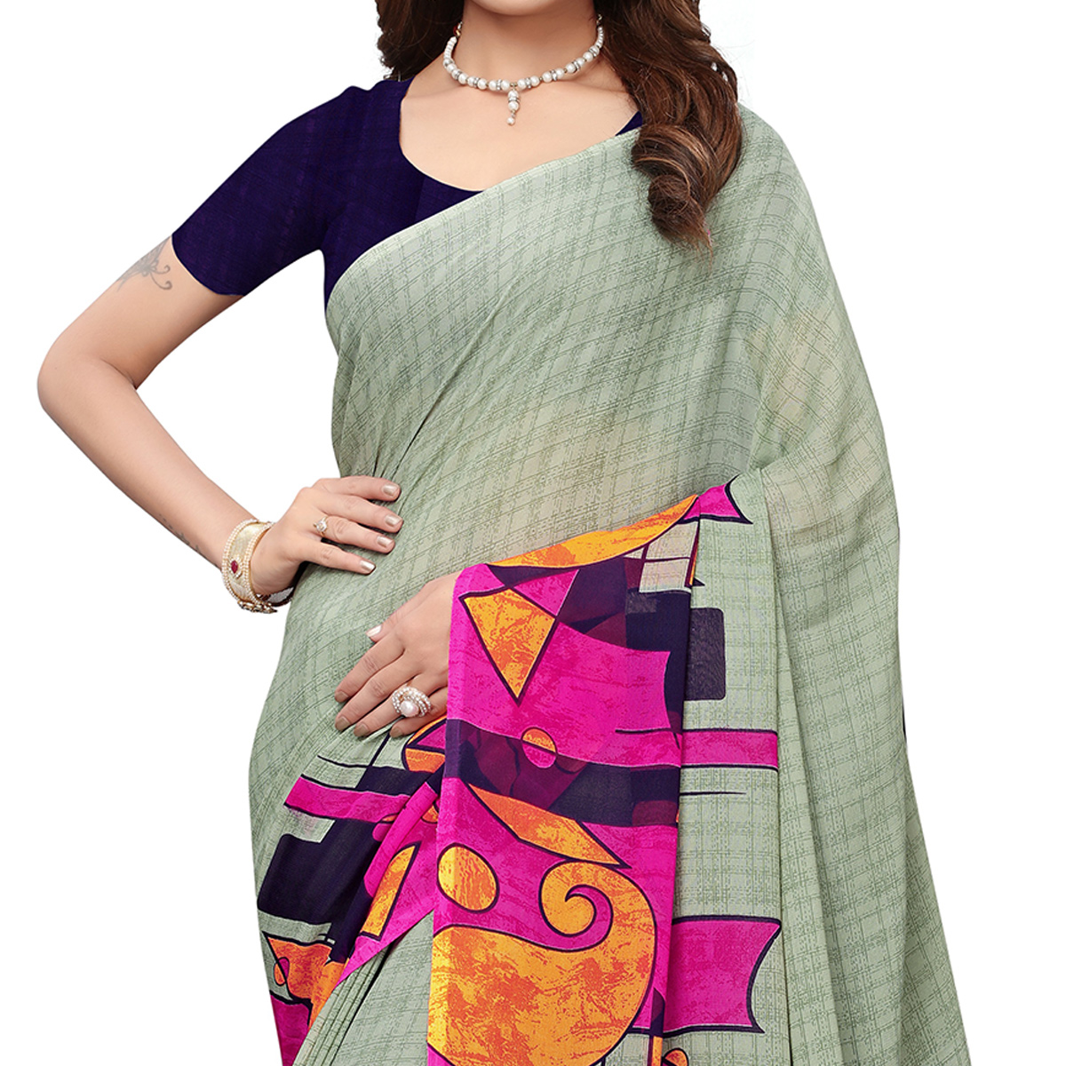Pleasant Grey Colored Casual Wear Printed Georgette Saree