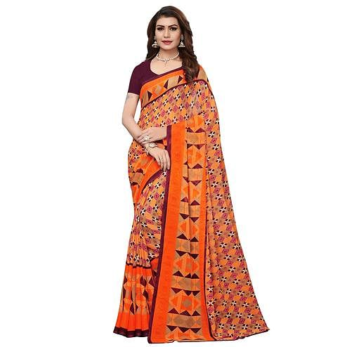 Unique Orange Colored Casual Wear Printed Georgette Saree