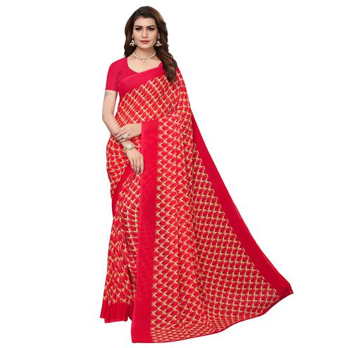 Elegant Red Colored Casual Wear Printed Georgette Saree