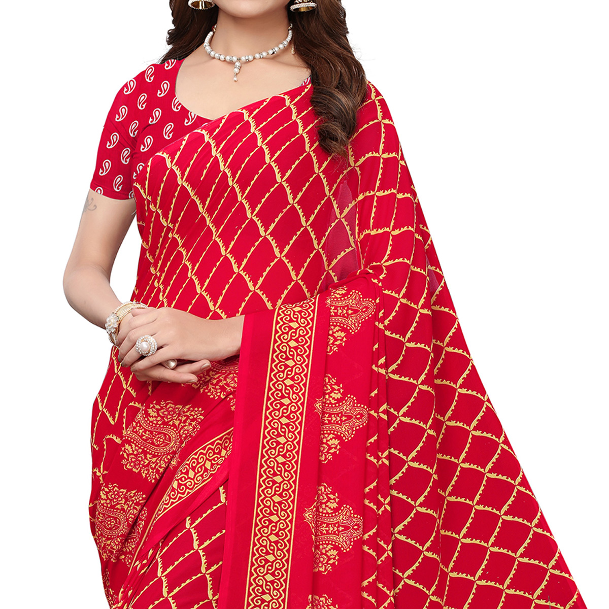 Alluring Red Colored Casual Wear Printed Georgette Saree