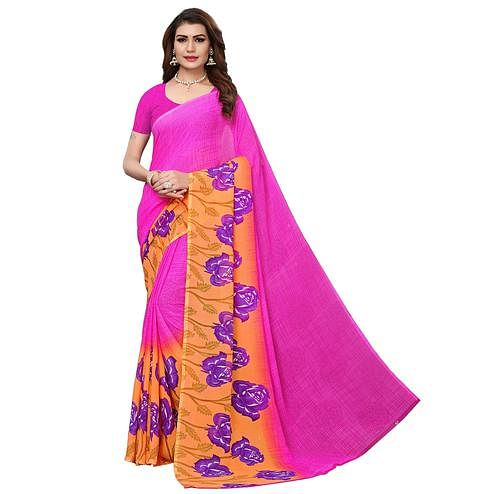 Sensational Rani Pink Colored Casual Wear Printed Georgette Saree