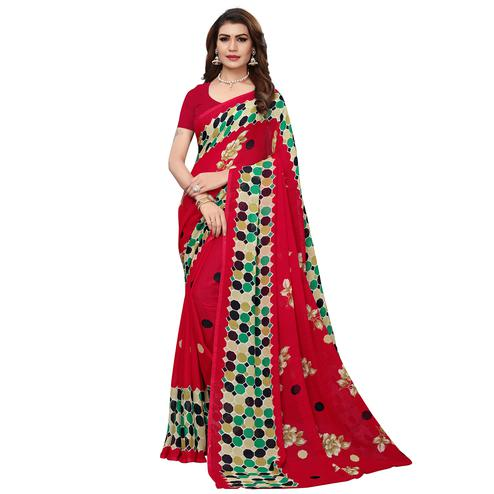 Flattering Dark Red Colored Casual Wear Printed Georgette Saree