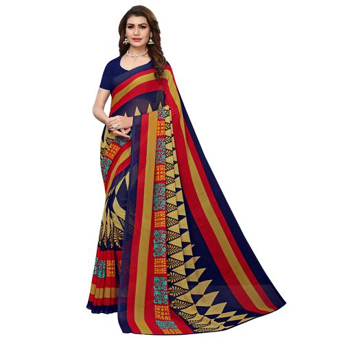 Impressive Navy Blue Colored Casual Wear Printed Georgette Saree