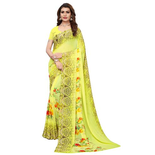 Arresting Lemon Yellow Colored Casual Wear Printed Georgette Saree