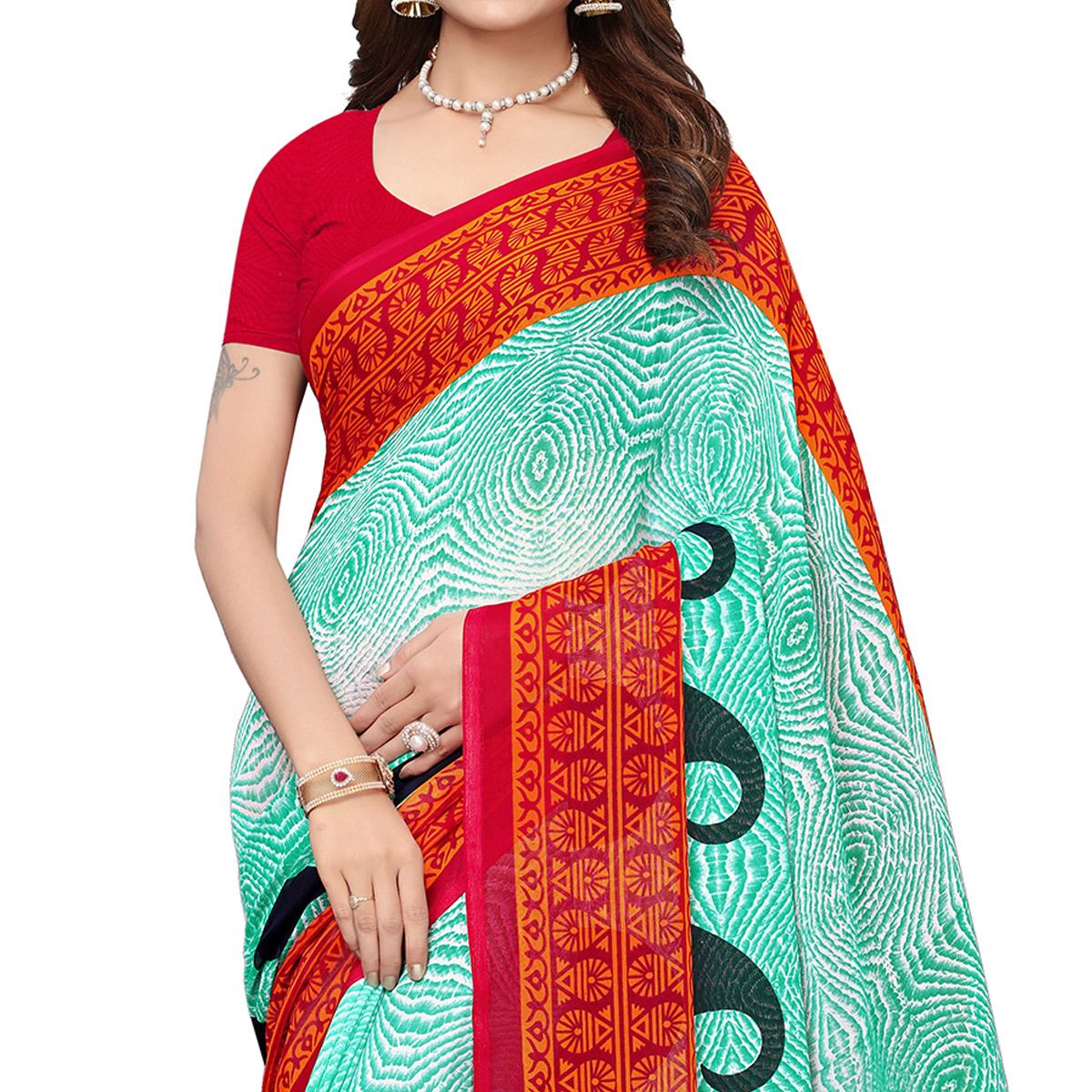 Exceptional Aqua Green Colored Casual Wear Printed Georgette Saree