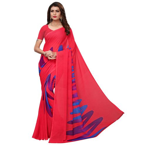 Excellent Deep Pink Colored Casual Wear Printed Georgette Saree