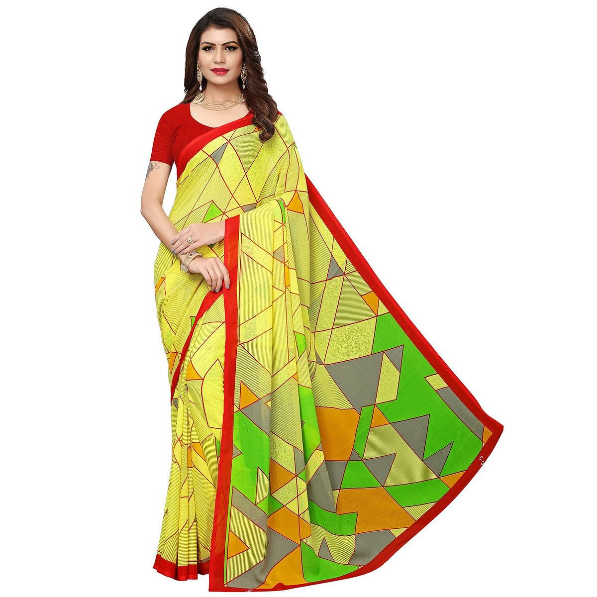 Ethnic Lemon Yellow Colored Casual Wear Printed Georgette Saree