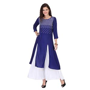 Royal Blue Front Slit Stitched Kurti
