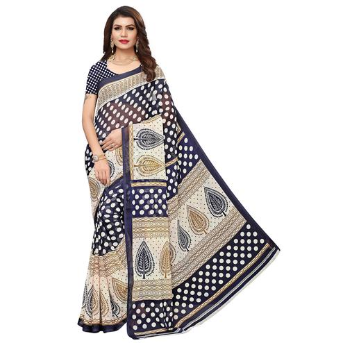 Flirty Navy Blue Colored Casual Wear Printed Georgette Saree