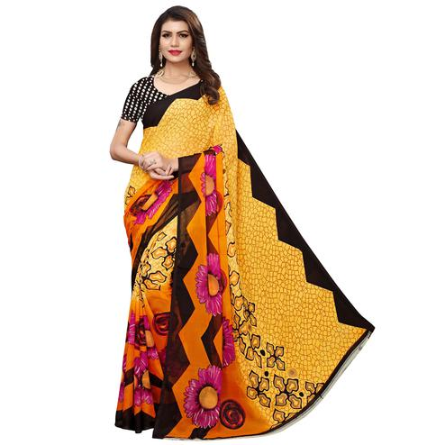 Glowing Yellow Colored Casual Wear Printed Georgette Saree