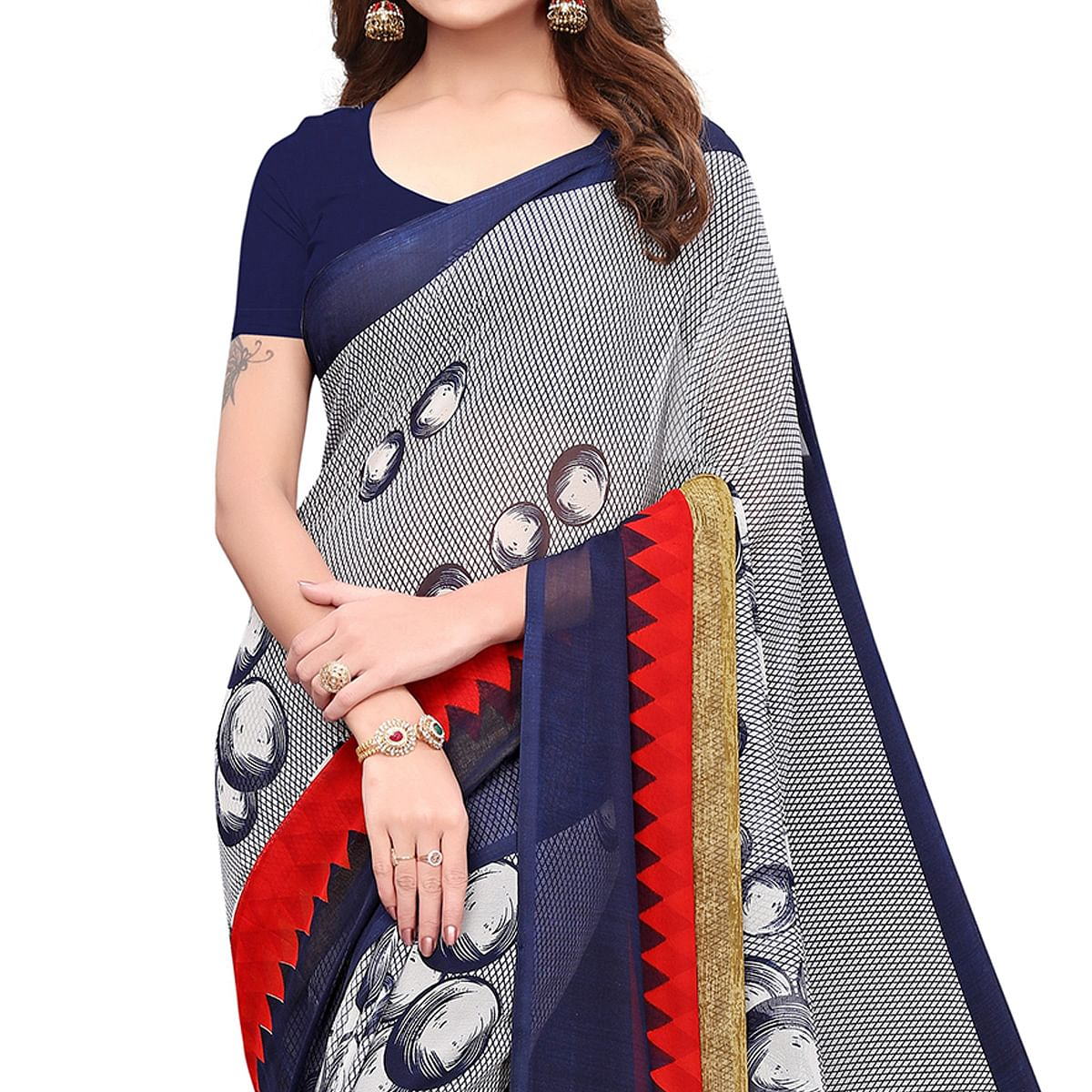 Hypnotic Grey Colored Casual Wear Printed Georgette Saree
