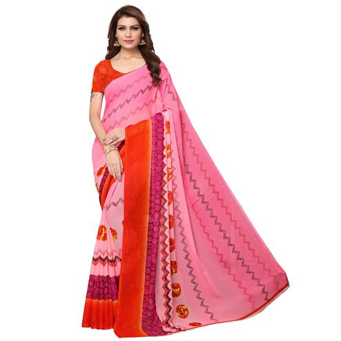 Magnetic Pink Colored Casual Wear Printed Georgette Saree