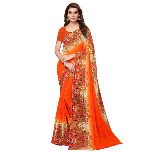 Energetic Orange Colored Casual Wear Printed Georgette Saree