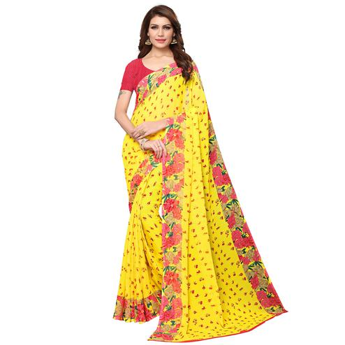 Mesmeric Yellow Colored Casual Wear Printed Georgette Saree