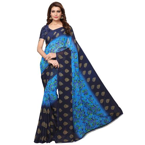Flaunt Blue Colored Casual Wear Printed Georgette Saree