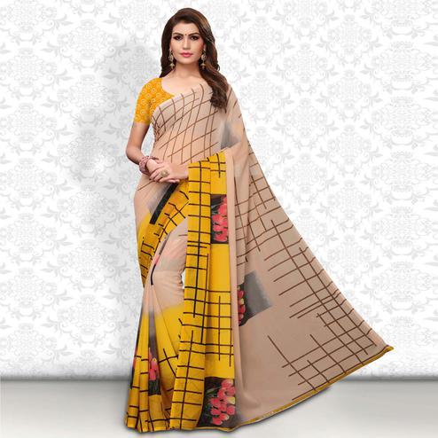 Flamboyant Beige Colored Casual Wear Printed Georgette Saree