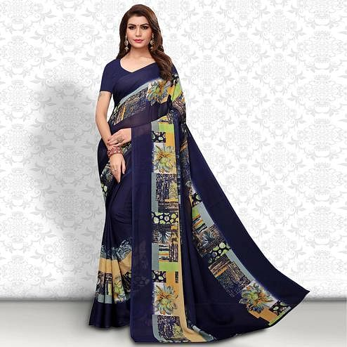 Jazzy Navy Blue Colored Casual Wear Printed Georgette Saree