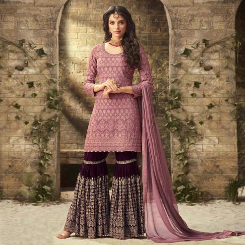 Eye-Catching Pink Colored Partywear Embroidered Faux Georgette Palazzo Suit