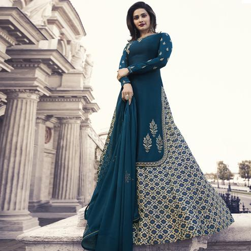 Delightful Blue Colored Partywear Embroidered Satin Georgette Lehenga Kameez