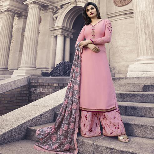 Stunning Light Pink Colored Partywear Embroidered Satin Georgette Lehenga Kameez