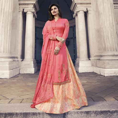 Majesty Pink Colored Partywear Embroidered Satin Georgette Lehenga Kameez