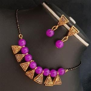 Gorgeous Magenta Pink Colored Moti Work Brass & Pearl Mangalsutra Set