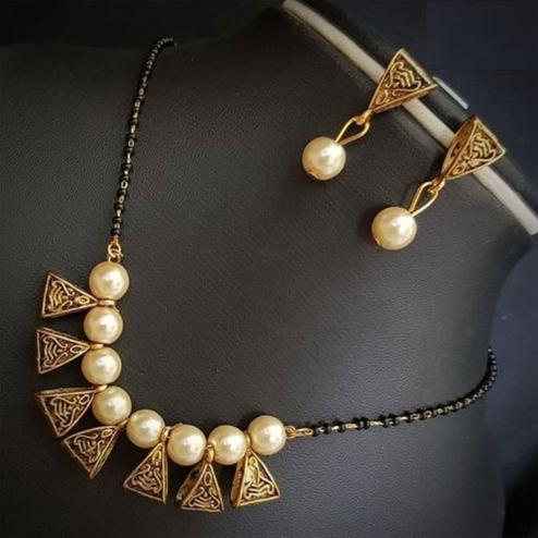 Glorious Cream Colored Moti Work Brass & Pearl Mangalsutra Set