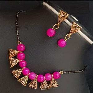 Lovely Rani Pink Colored Moti Work Brass & Pearl Mangalsutra Set