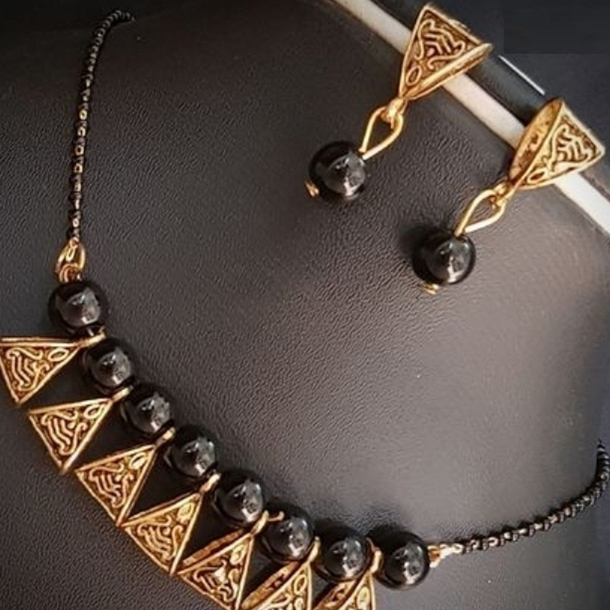 Pretty Black Colored Moti Work Brass & Pearl Mangalsutra Set